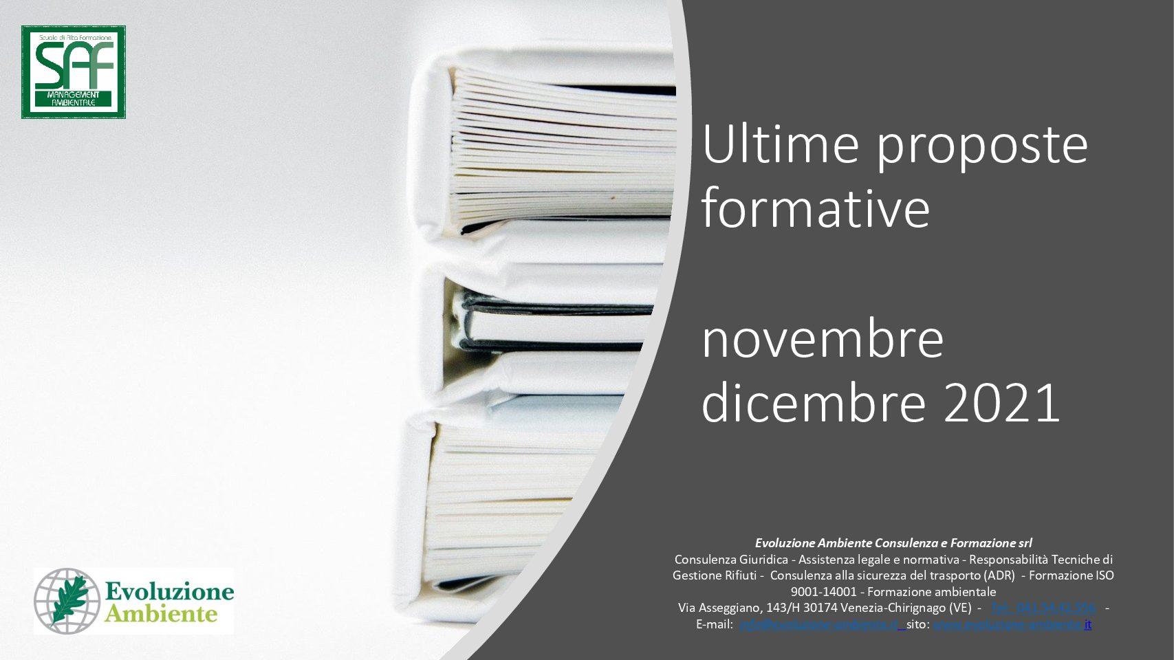 Calendario Corsi di Formazione Novembre Dicembre 2021